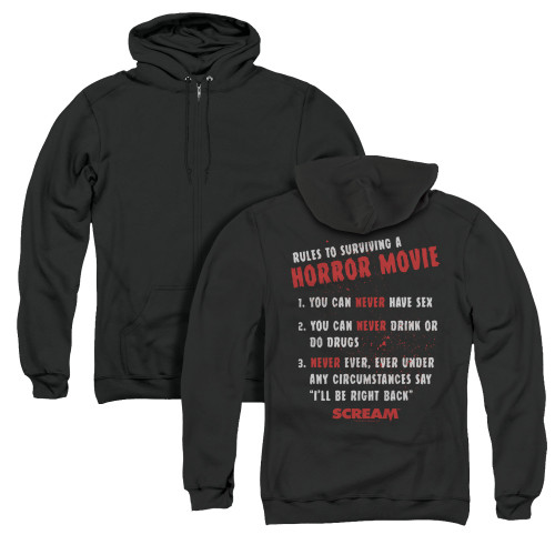 Image for Scream Zip Up Back Print Hoodie - Rules