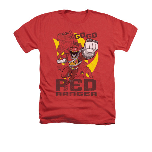Image for Power Rangers Dino Charge Heather T-Shirt - Go Red