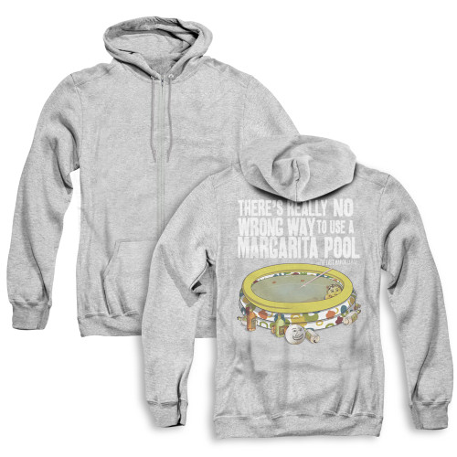 Image for Last Man on Earth Zip Up Back Print Hoodie - There's No Wrong Way to Use a Margarita Pool