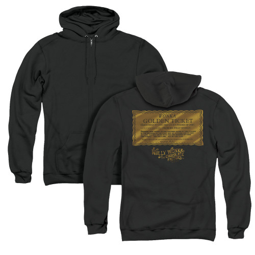 Image for Willy Wonka and the Chocolate Factory Zip Up Back Print Hoodie - Golden Ticket