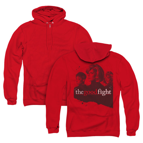 Image for The Good Fight Zip Up Back Print Hoodie - Diane Lucca Maia