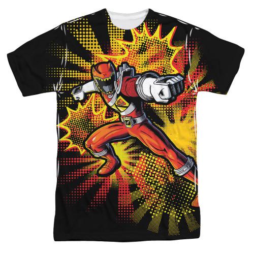 Image for Power Rangers Sublimated T-Shirt - Red Ranger Burst 100% Polyester