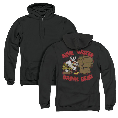 Image for Hagar The Horrible Zip Up Back Print Hoodie - Save Water Drink Beer
