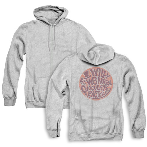 Image for Willy Wonka and the Chocolate Factory Zip Up Back Print Hoodie - Circle Logo