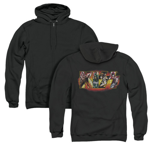Image for Kiss Zip Up Back Print Hoodie - Stage Logo
