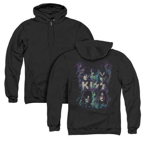 Image for Kiss Zip Up Back Print Hoodie - Colorful Fire