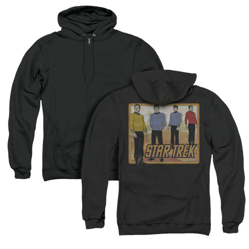Image for Star Trek Zip Up Back Print Hoodie - Classic Animated Crew
