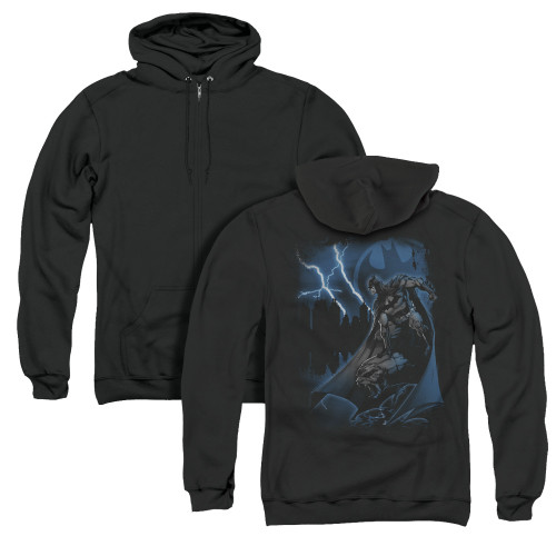 Image for Batman Zip Up Back Print Hoodie - Lightning Strikes