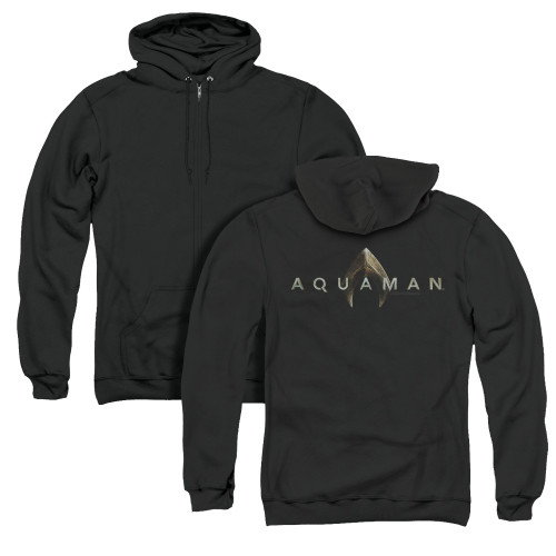 Image for Aquaman Movie Zip Up Back Print Hoodie - Logo