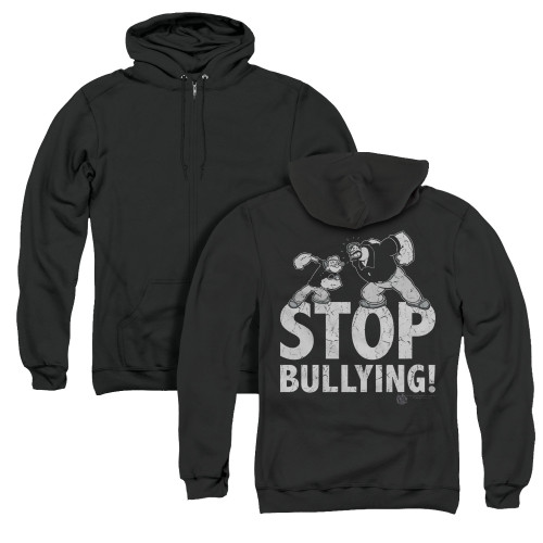 Image for Popeye the Sailor Zip Up Back Print Hoodie - Stopy Bullying
