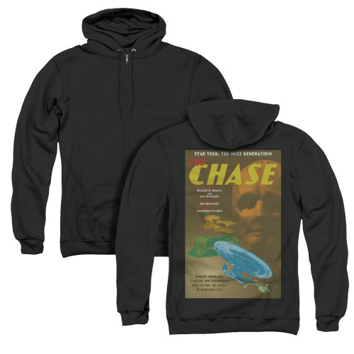 Image for Star Trek the Next Generation Juan Ortiz Episode Poster Zip Up Back Print Hoodie - Season 6 Ep. 20 the Chase on Black