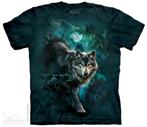 Image for The Mountain T-Shirt - Night Wolves Collage