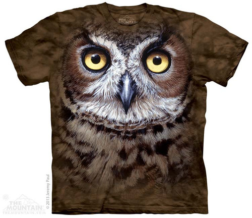 Image for The Mountain T-Shirt - Great Horned Owl Head