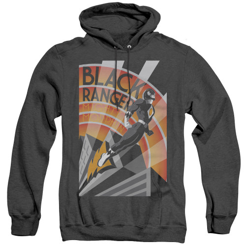 Image for Power Rangers Heather Hoodie - Black Ranger Deco