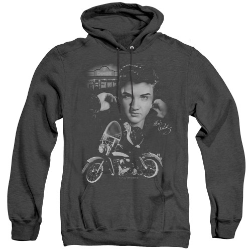 Image for Elvis Heather Hoodie - The King Rides Again