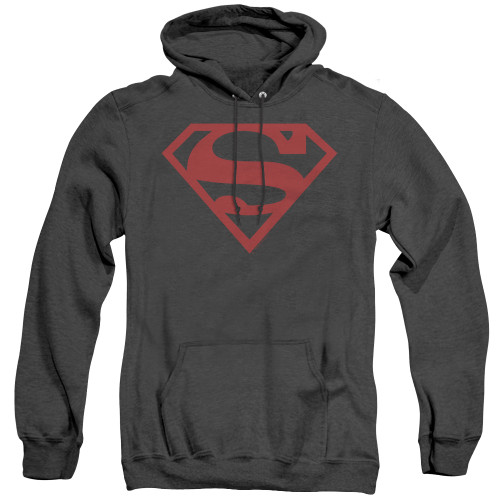 Image for Superman Heather Hoodie - Red On Black Shield