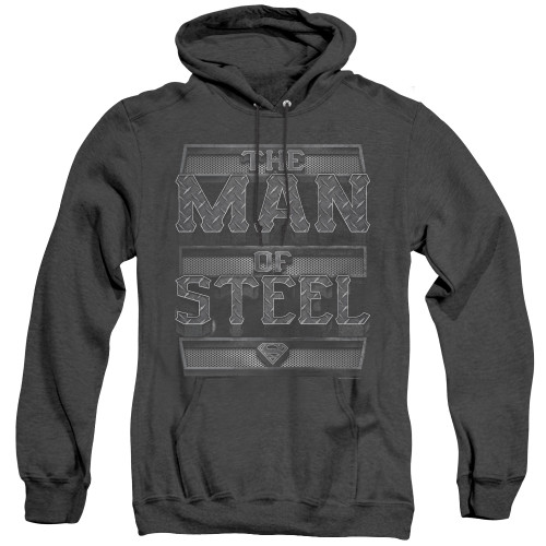 Image for Superman Heather Hoodie - Steel Text