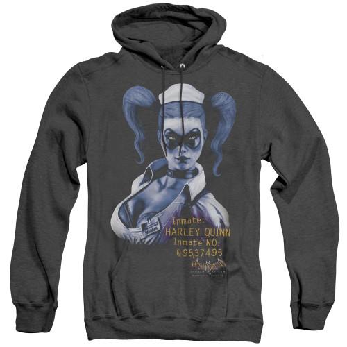Image for Batman Arkham Asylum Heather Hoodie - Arkham Harley Quinn