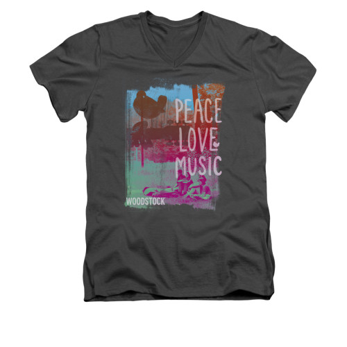 Image for Woodstock V-Neck T-Shirt Peace Love Music