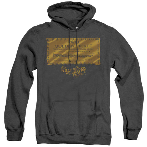 Image for Willy Wonka and the Chocolate Factory Heather Hoodie - Golden Ticket