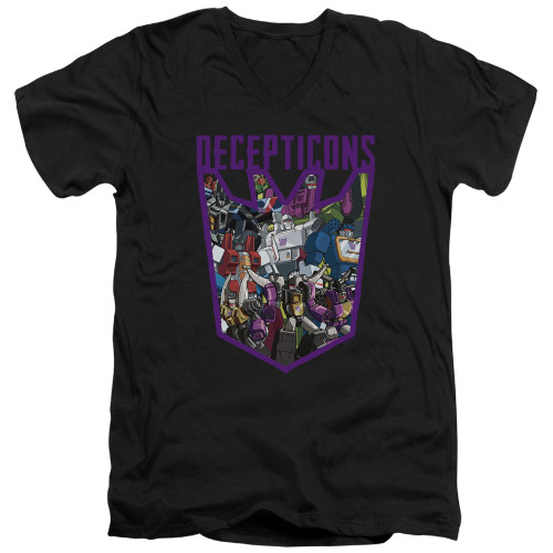 Image for Transformers T-Shirt - V Neck - Decepticon Collage