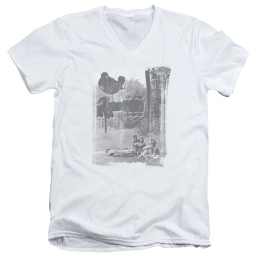 Image for Woodstock V Neck T-Shirt - Hippies in a Field