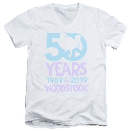 Image for Woodstock V Neck T-Shirt - 50th Anniversary Simple