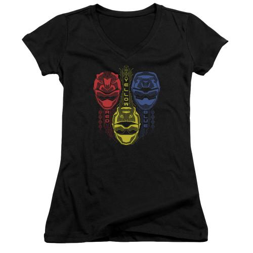 Image for Power Rangers Girls V Neck T-Shirt - Beast Morphers Red Yellow Blue