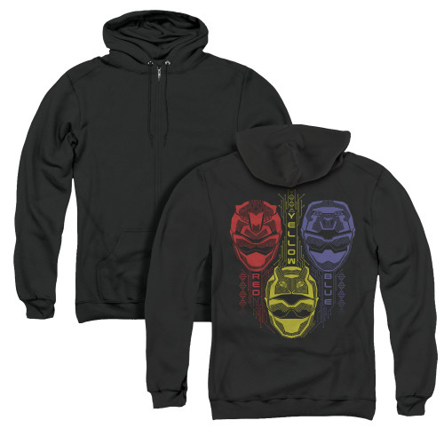 Image for Power Rangers Zip Up Back Print Hoodie - Beast Morphers Red Yellow Blue