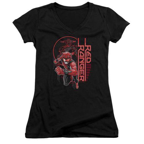 Image for Power Rangers Girls V Neck T-Shirt - Beast Morphers Red Ranger