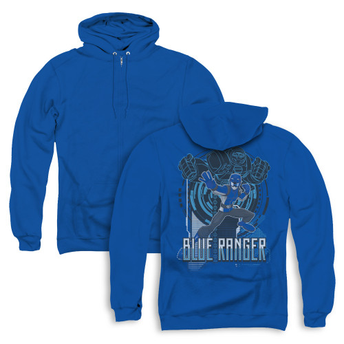 Image for Power Rangers Zip Up Back Print Hoodie - Beast Morphers Blue Ranger