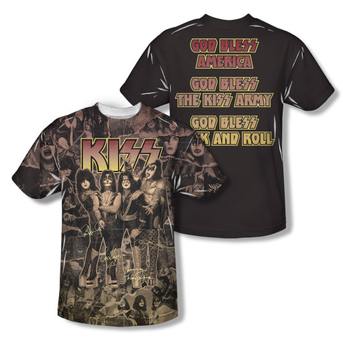 Image for Kiss Sublimated Youth T-Shirt - God Bless
