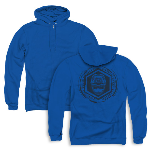 Image for Power Rangers Zip Up Back Print Hoodie - Beast Morphers Blue Ranger Icon