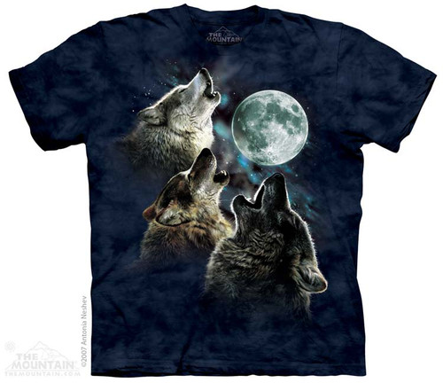 Image for The Mountain T-Shirt - Three Wolf Moon in Blue