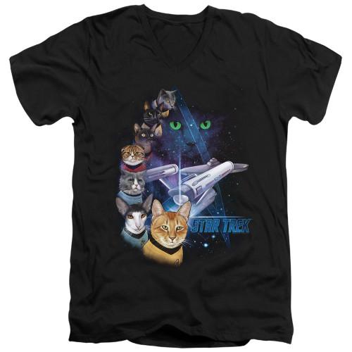 Image for Star Trek Cats T-Shirt - V Neck - Feline Galaxy