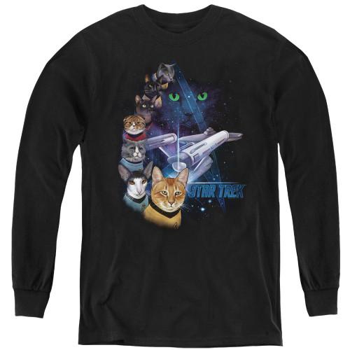 Image for Star Trek Cats Youth Long Sleeve T-Shirt - Feline Galaxy