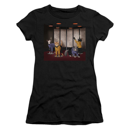 Image for Star Trek Cats Girls T-Shirt - Beam Meow Up