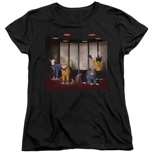 Image for Star Trek Cats Womans T-Shirt - Beam Meow Up