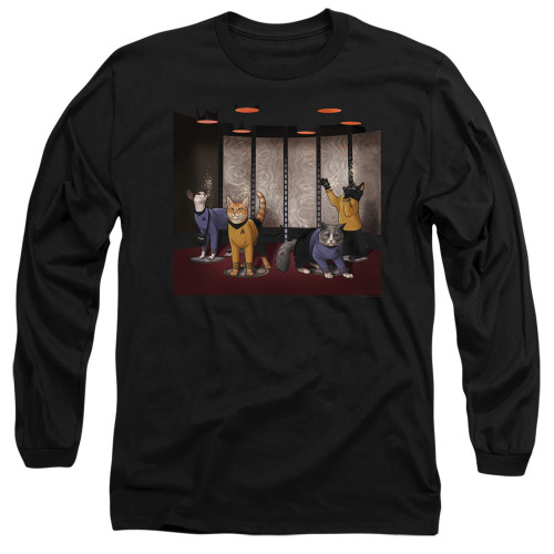 Image for Star Trek Cats Long Sleeve T-Shirt - Beam Meow Up