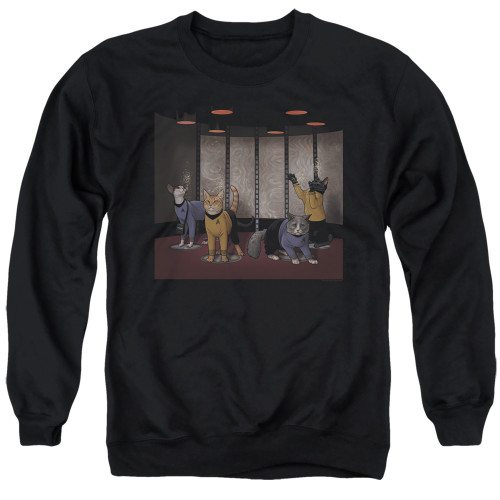 Image for Star Trek Cats Crewneck - Beam Meow Up