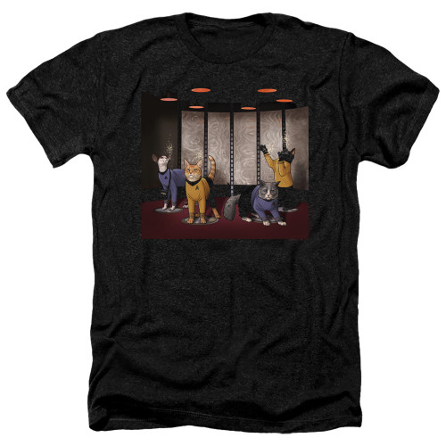 Image for Star Trek Cats Heather T-Shirt - Beam Meow Up