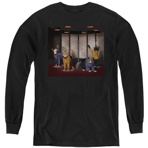 Image for Star Trek Cats Youth Long Sleeve T-Shirt - Beam Meow Up