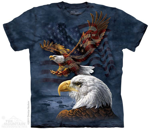 Image for The Mountain T-Shirt - Eagle Flag Collage