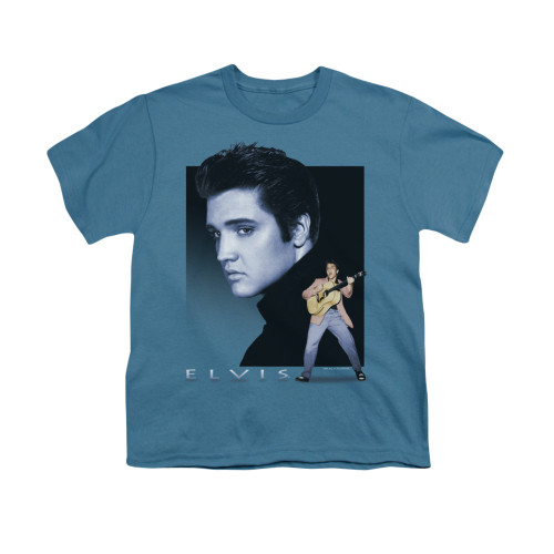 Image for Elvis Youth T-Shirt - Blue Rocker