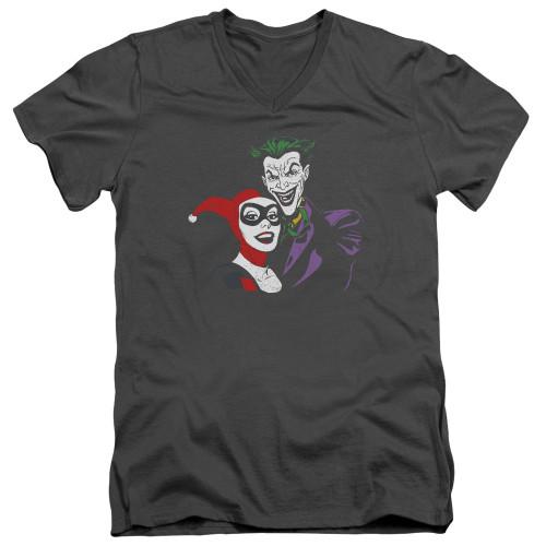 Image for Batman T-Shirt - V Neck - Harley and Joker