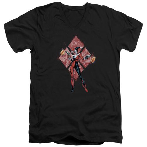 Image for Batman T-Shirt - V Neck - Harley Quinn (Diamonds)