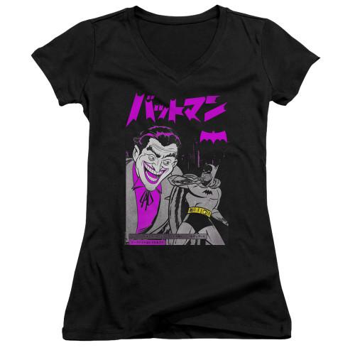 Image for Batman Girls V Neck T-Shirt - Kanji Cover