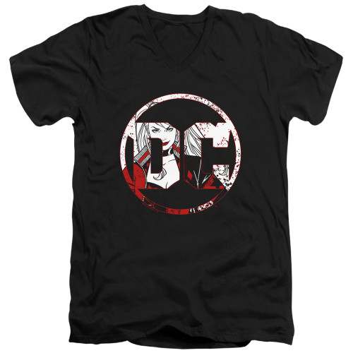 Image for Batman T-Shirt - V Neck - DC Logo Harley