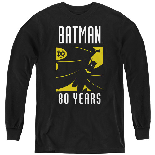 Image for Batman Youth Long Sleeve T-Shirt - 80 Years Silhouette