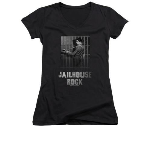 Image for Elvis Girls V Neck T-Shirt - Jail House Rock